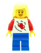 Girl with Valentine T-Shirt - Custom Designed Minifigure